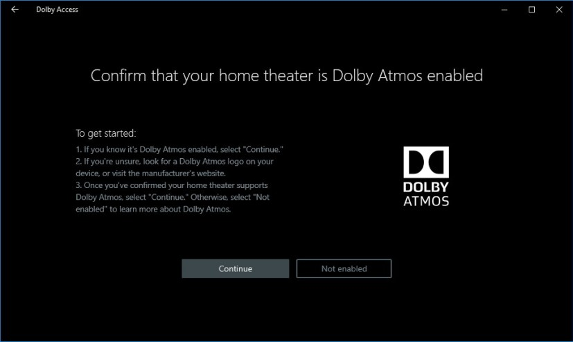 Dolby Atmos settings on Windows 10